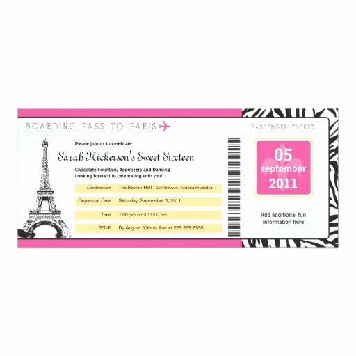 Paris Boarding Pass Invitation Awesome Sweet 16 Boarding Pass to Paris 4x9 25 Paper Invitation