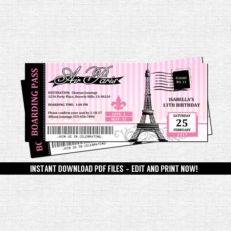 Paris Boarding Pass Invitation Best Of Paris Boarding Pass Invitations Parisian Birthday Party