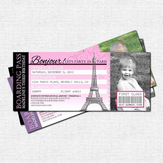 Paris Boarding Pass Invitation Best Of Paris Boarding Pass Invitations Thank You Card