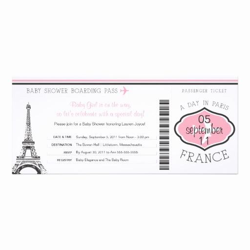 Paris Boarding Pass Invitation Elegant Baby Shower Boarding Pass to Paris 4x9 25 Paper Invitation