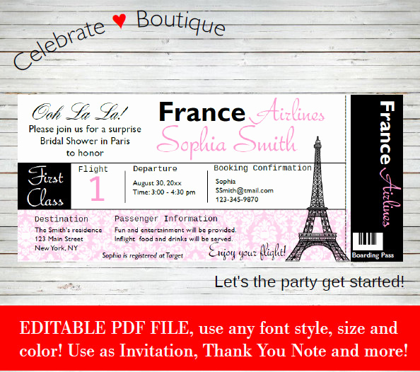 Paris Boarding Pass Invitation Fresh Paris Boarding Pass Bridal Shower Baby Shower Birthday Party
