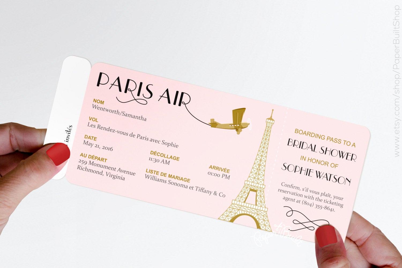 Paris Boarding Pass Invitation Fresh Paris theme Party Boarding Pass Invitation Real Airline