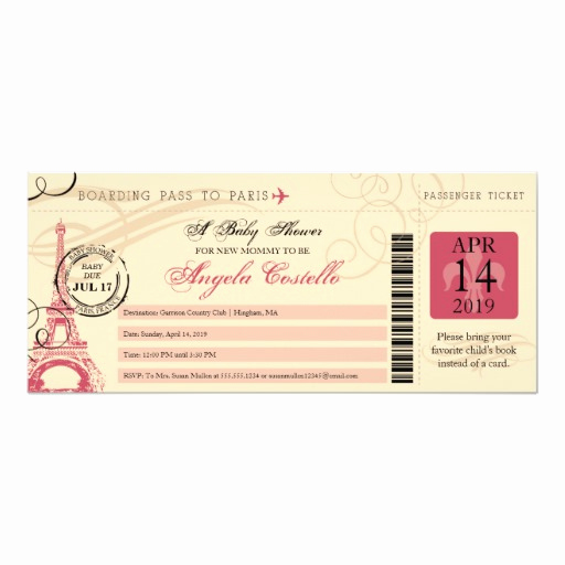 Paris Boarding Pass Invitation Lovely Baby Shower Vintage Paris Boarding Pass 4x9 25 Paper