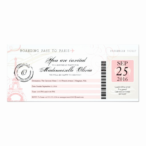 Paris Boarding Pass Invitation Lovely Vintage Paris France Birthday Party Boarding Pass 4x9 25