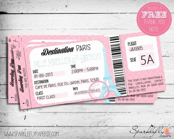 Paris Boarding Pass Invitation Luxury Paris themed Boarding Pass Ticket Birthday by