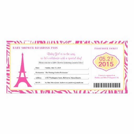 "Paris Boarding Pass Invitation New Baby Shower Paris Boarding Pass 4"" X 9 25"" Invitation Card"