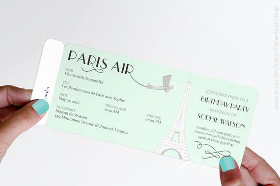 Paris Boarding Pass Invitation Unique Paris theme Party Boarding Pass Invitation Real Airline