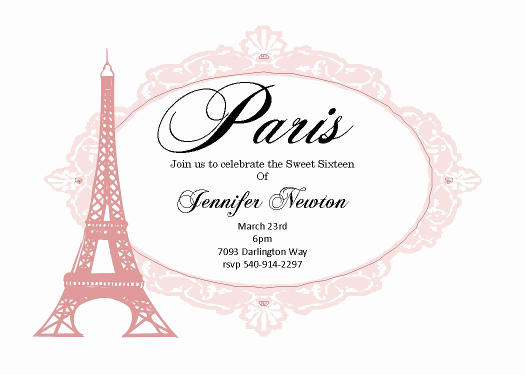 Paris Invitation Template Free Fresh Sweet Sixteen 16 Party Invitation New Selections Summer 2018