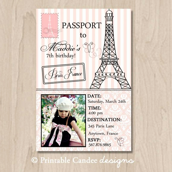 Paris Passport Invitation Template Beautiful Passport to Paris Birthday Invitation Diy Custom Printable