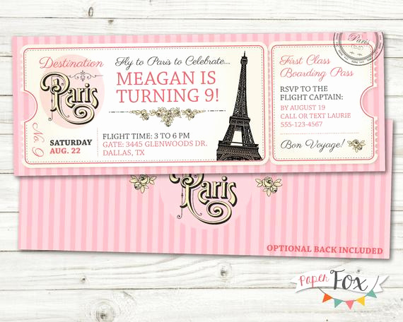 Paris Passport Invitation Template Best Of Paris Birthday Invitation Ticket to Paris Invitation