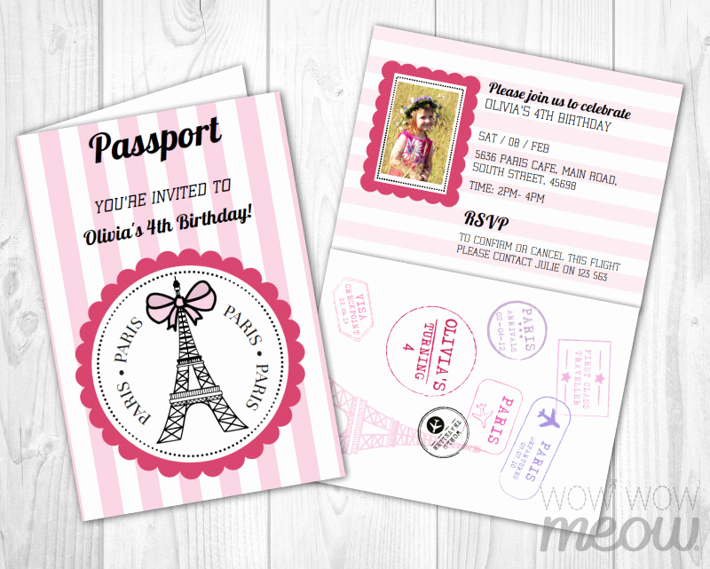 Paris Passport Invitation Template Best Of Paris Passport Invitation Instant Download Add A Pink