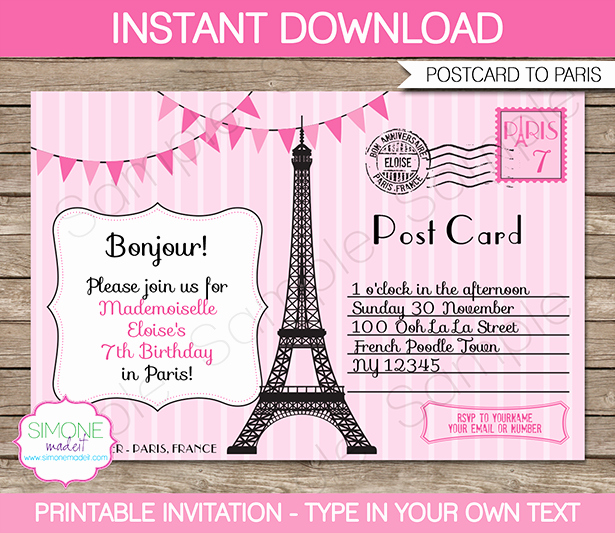 Paris Passport Invitation Template Elegant Paris Party Invitations Template – Pink