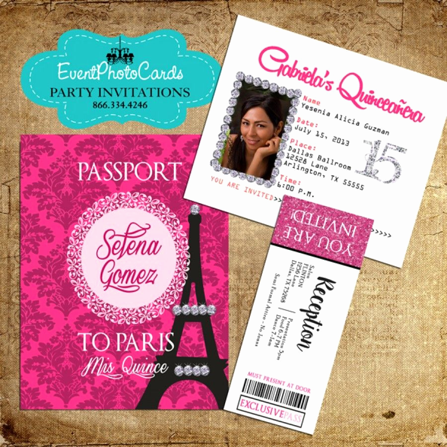 Paris Passport Invitation Template Inspirational Paris Pink Passport Invitations with Ticket Reception Pass