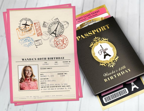 Paris Passport Invitation Template New Passport and Ticket Birthday Invitation Paris Birthday
