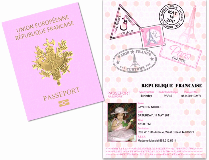 Paris Passport Invitation Template Unique Passport 36 Paris France Custom Passport Invitations