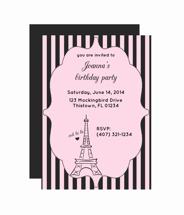 Paris themed Invitation Template Awesome Paris Free Printable Party Invitation From