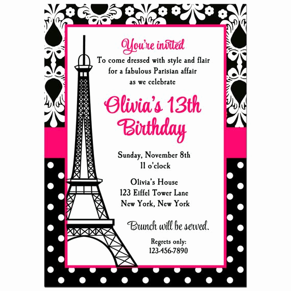 Paris themed Invitation Template Awesome Paris Invitation Printable or Printed with Free Shipping