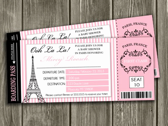 Paris themed Invitation Template Awesome Printable Paris Boarding Pass Baby Shower Invitation