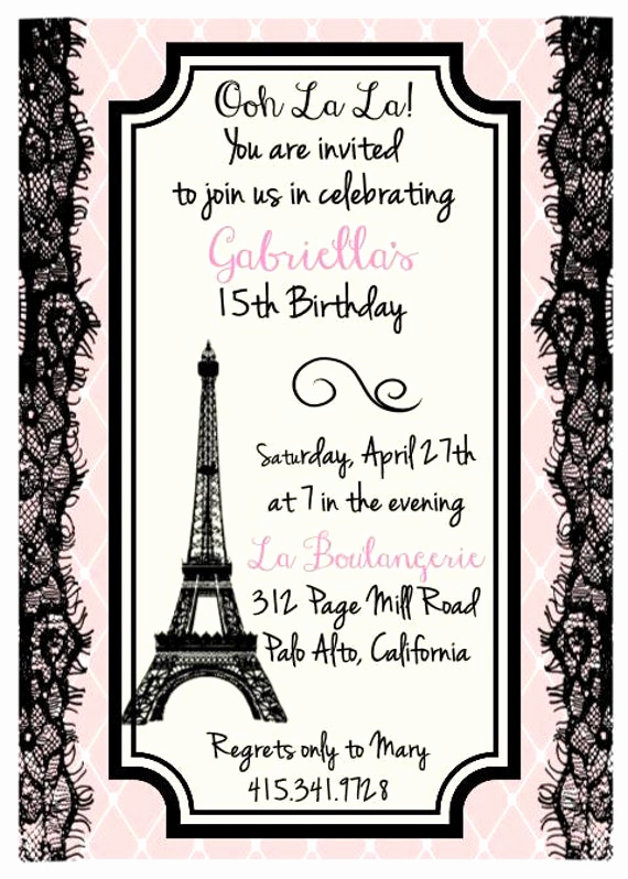 Paris themed Invitation Template Beautiful Printed Eiffel tower Parisian theme Birthday Bridal Shower