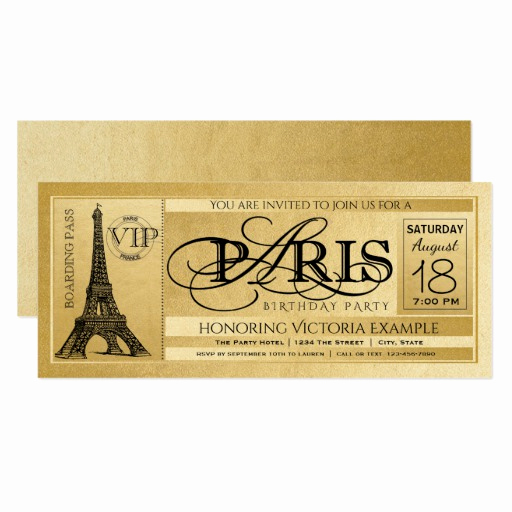 Paris themed Invitation Template Best Of Paris Birthday Party Invitation Gold Paris Ticket