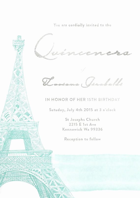 Paris themed Invitation Template Elegant Paris Eiffel tower Quinceanera Save the Date by