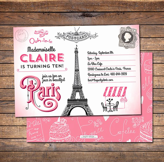 Paris themed Invitation Template Fresh Paris Birthday Invitation Templates