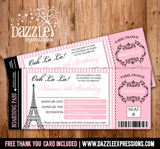 Paris themed Invitation Template Inspirational Printable Paris Boarding Pass Invitation Kids Ticket
