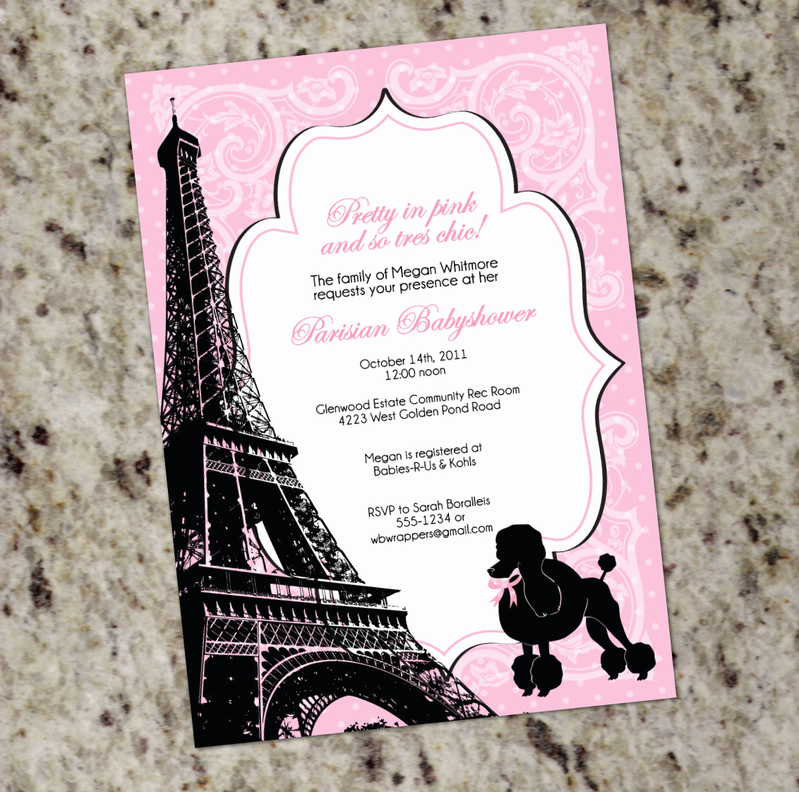 Paris themed Invitation Template Lovely Paris themed Baby Shower Invitation Pink and Black French