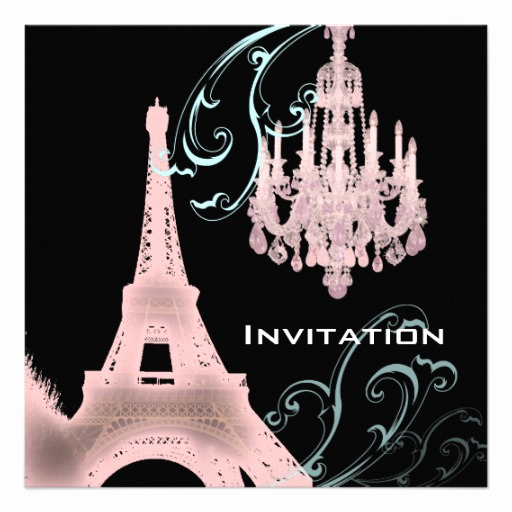 pink chandelier paris wedding invitation template