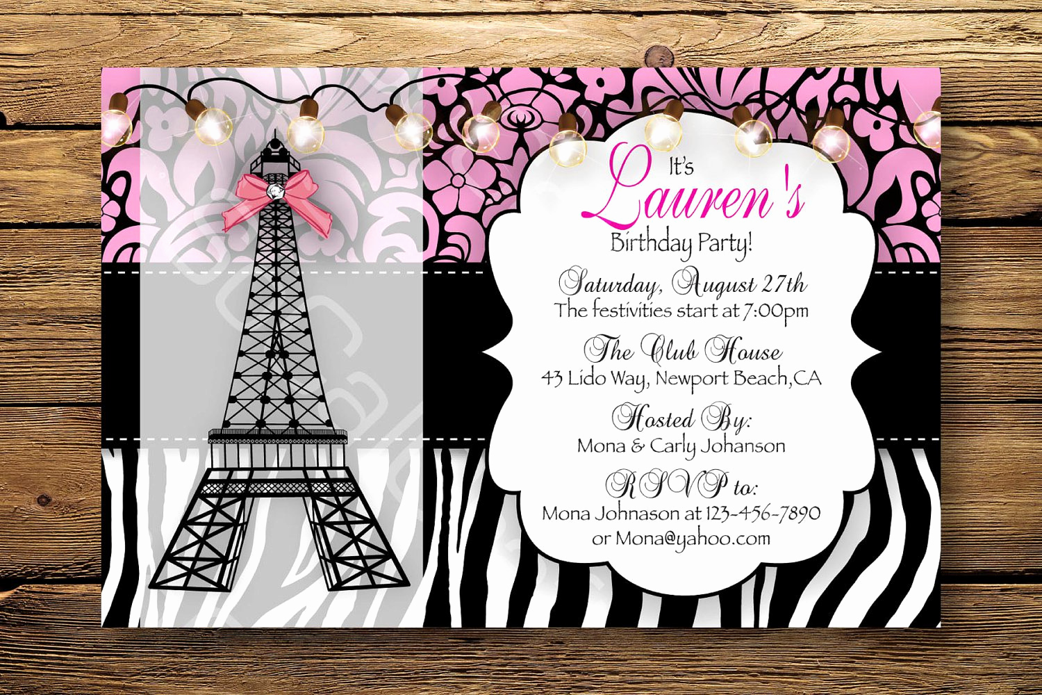 Paris themed Invitation Template New Paris themed Birthday Invitations