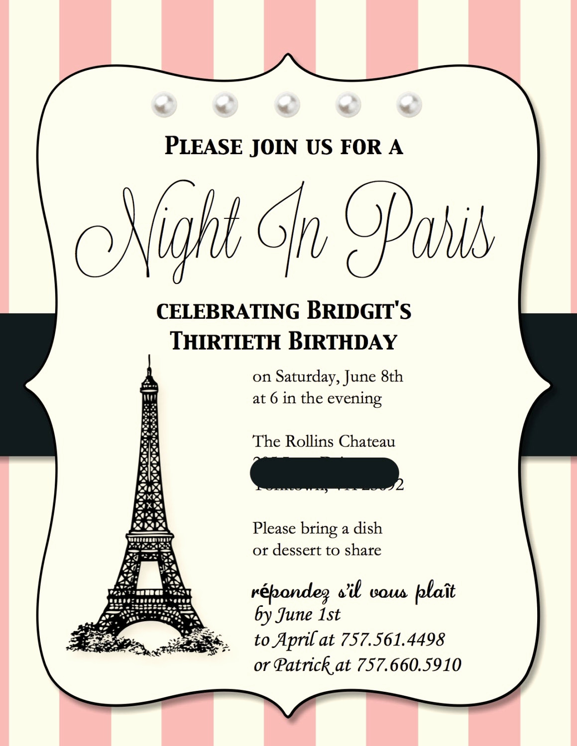 Paris themed Invitation Template Unique Paris themed Birthday Party Invitations 15 Invites