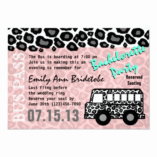 Party Bus Invitation Wording Awesome Party Bus Bachelorette Party Bash Card