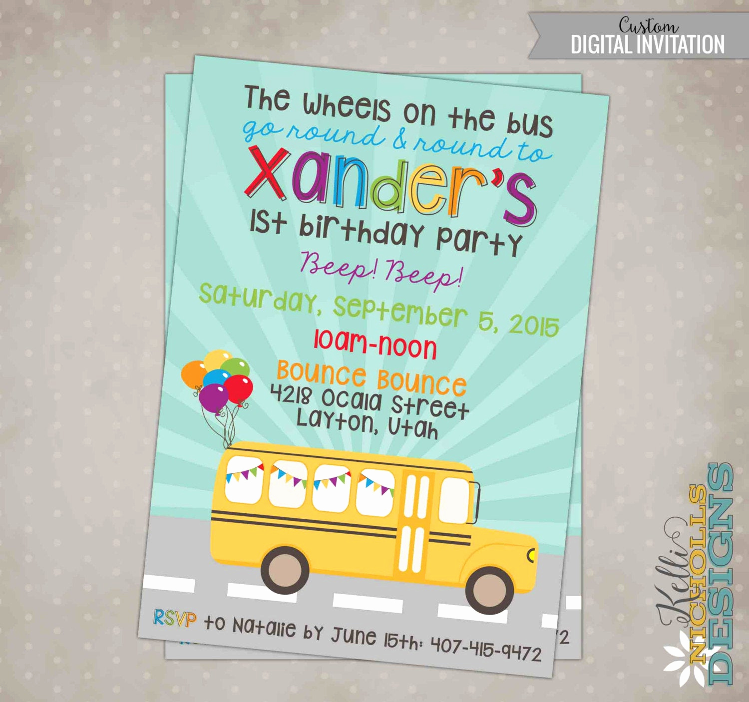 Party Bus Invitation Wording Awesome Wheels On the Bus Birthday Party Invitation Custom School Bus