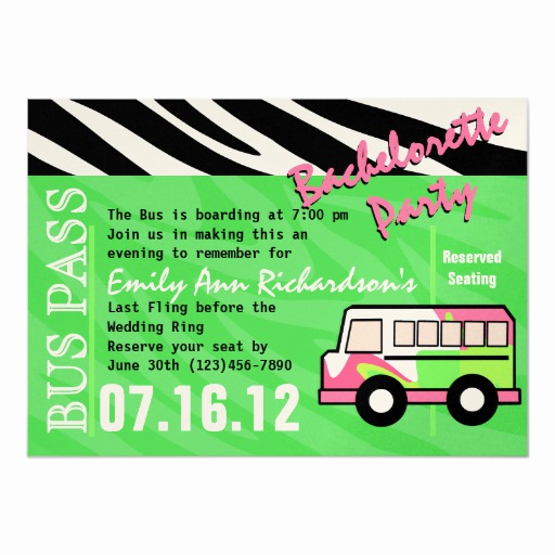 Party Bus Invitation Wording Beautiful Party Bus Bachelorette Party Bash 5x7 Paper Invitation