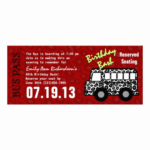Party Bus Invitation Wording Beautiful Personalized Party Bus Invitations