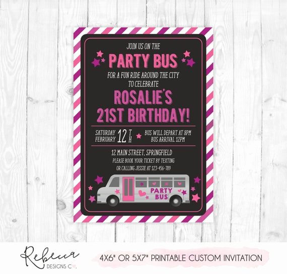 Party Bus Invitation Wording Best Of Party Bus Invitation Bus Birthday Bridal Bus Bridal Shower