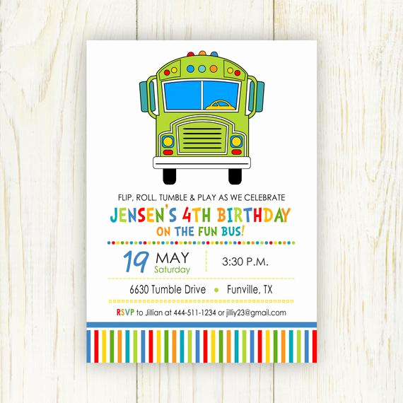 Party Bus Invitation Wording Elegant Fun Bus Birthday Party Invitation Digital 5 X 7 Fun or Tumble