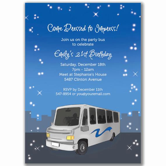 Party Bus Invitation Wording Elegant Items Similar to Party Bus Invitations Night for A