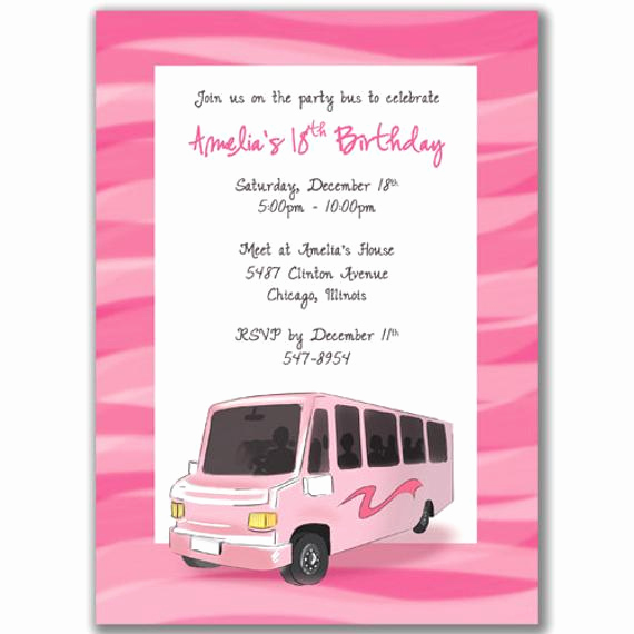 Party Bus Invitation Wording Fresh Party Bus Invitations Pink Wave or Polka Dot for A by Milelj