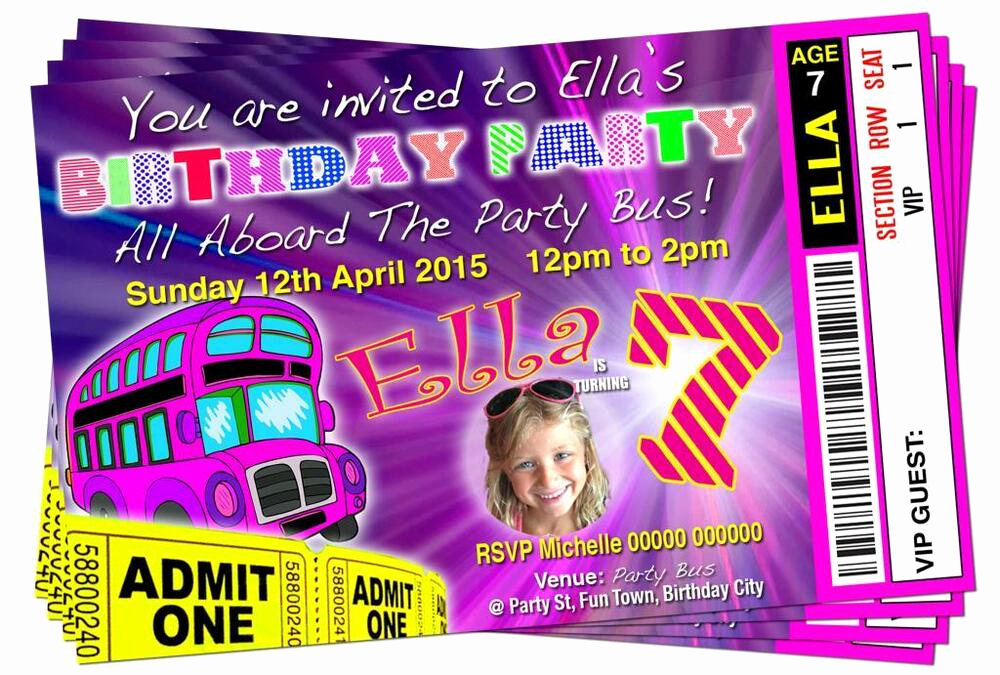 Party Bus Invitation Wording Inspirational Birthday Party Invitations Party Bus theme Personalised