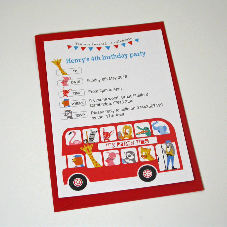 Party Bus Invitation Wording Inspirational London Bus Children S Party Invitation by Moonglow Art