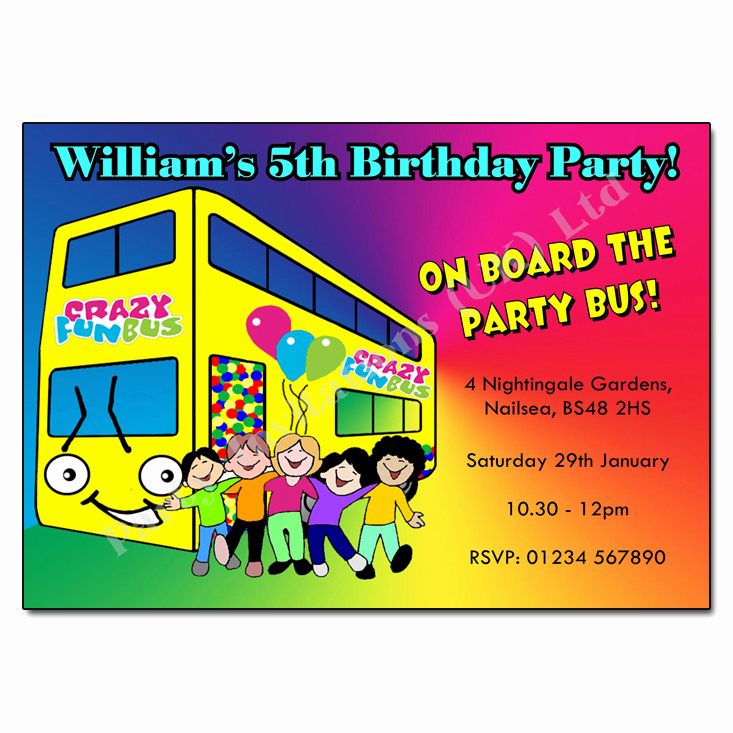 Party Bus Invitation Wording Lovely Party Bus Invitation