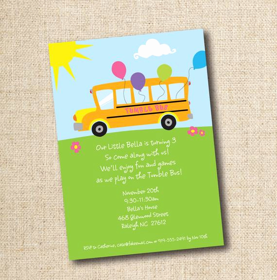 Party Bus Invitation Wording Lovely Tumble Bus Fun Bus Birthday Party Invitation Custom