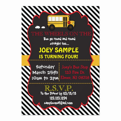 Party Bus Invitation Wording Luxury School Bus Birthday Invitation
