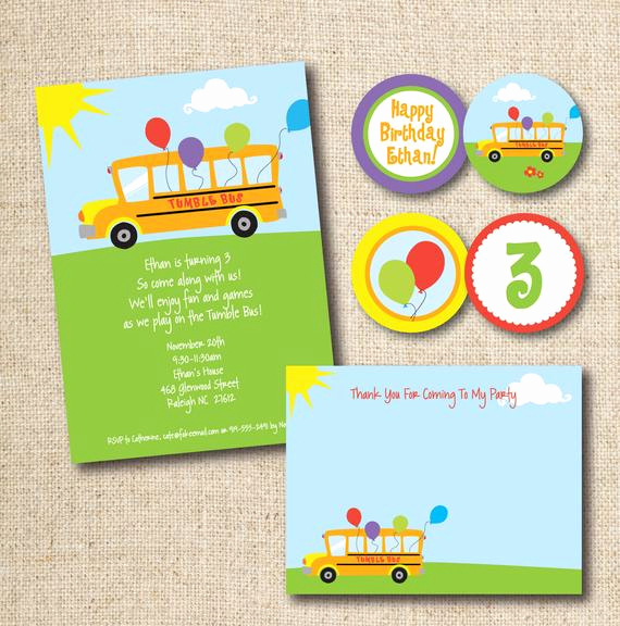 Party Bus Invitation Wording Luxury Tumble Bus Fun Bus Birthday Party Invitation Custom