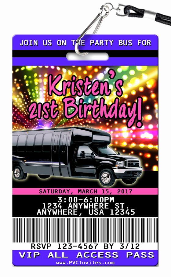 Party Bus Invitation Wording New Vip Pass Birthday Invitations Unique Authentic Plastic