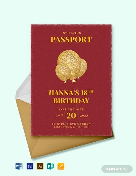 Passport Invitation Template Free Elegant 17 Passport Invitation Templates Free Sample Example