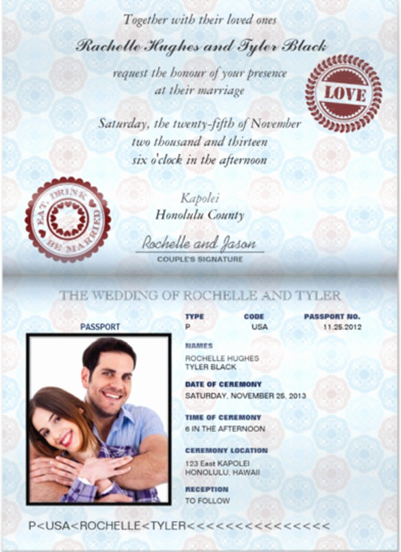 Passport Invitation Template Free Lovely Passport Wedding Invitation Template Free