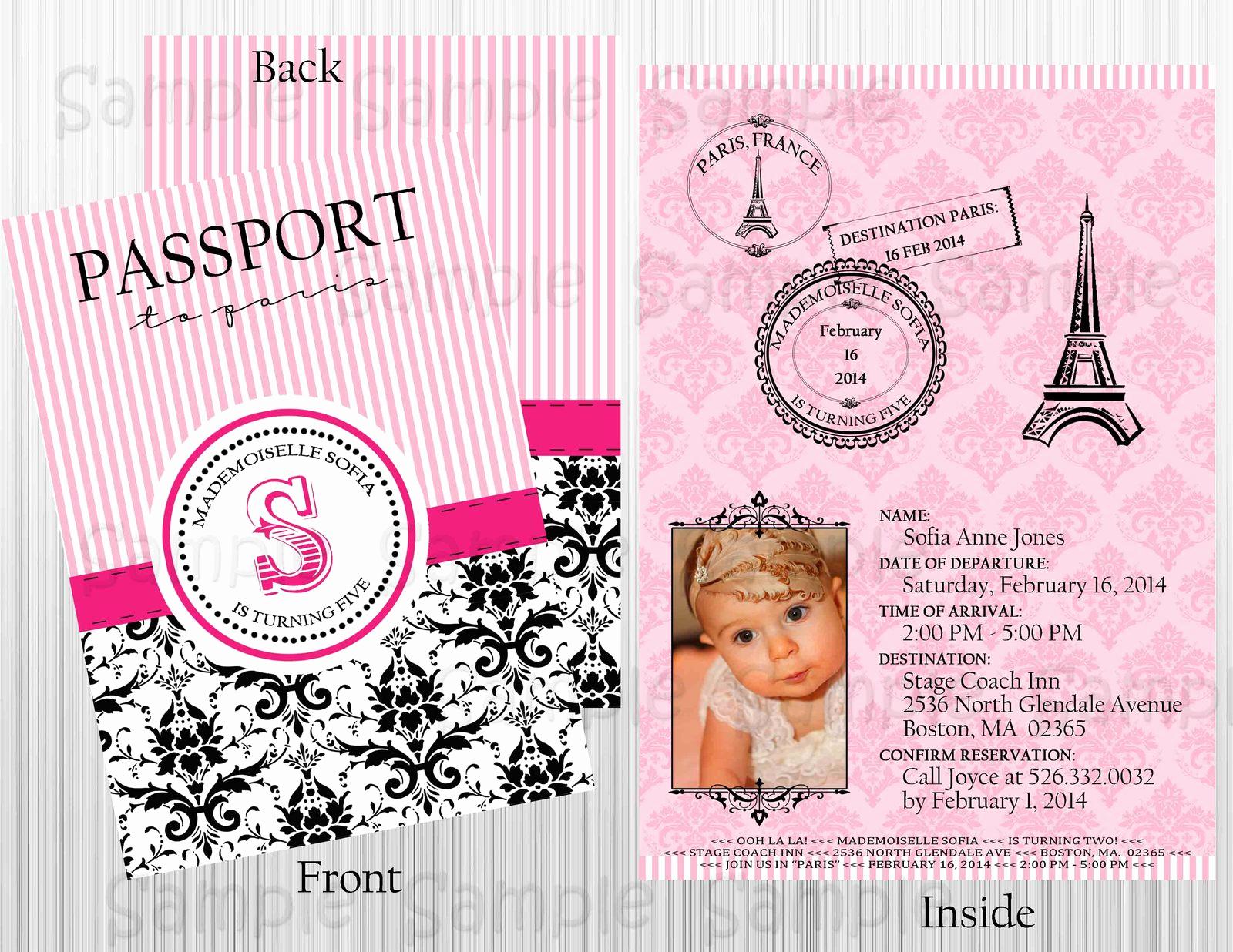 Passport Invitation Template Free New Custom Paris Passport Printable Invitation Birthday Baby