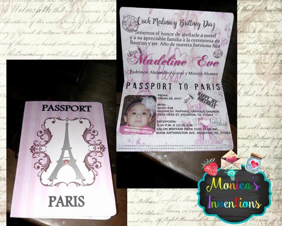 Passport to Paris Invitation Awesome Paris Passport Invitations for Baptism Birthday Party
